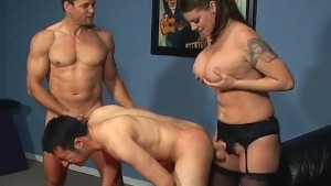 Busty girl takes two bisexual cocks - Pure Filth Productions