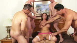 Gorgeous brunette gets her first gangbang... and ask for more- Homemade Media