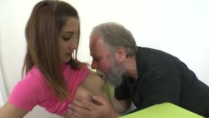 College student Ulia gets licked and fucked by an old bearded teacher