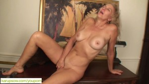 Older Blond Cally Jo Fingers P