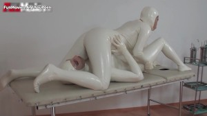 Sexy white latex suit lesbians