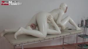 Sexy white latex suit lesbians