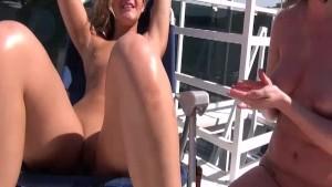 Naked Sunbathing and Masturbating Girls