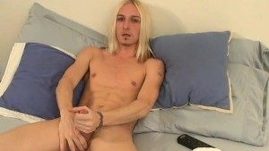 Blond sissy wanks on his bed- Slippery Palm Productions