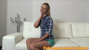 FakeAgent First time creampie for hot blonde