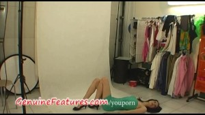 Backstage striptease by super slim czech cutie