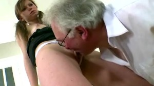 Old gray-haired teacher fucks his young student when she s doing her homework