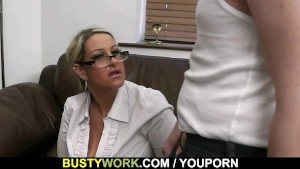 Big titted salesgirl gets screwed
