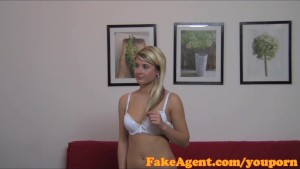 FakeAgent Shy blonde babe takes cock in casting