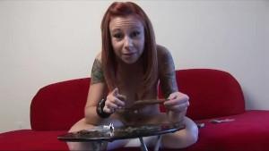 Redhead teen rolls blunt