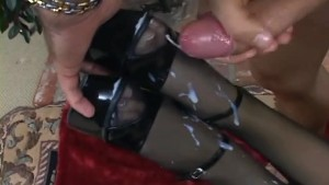 Glamour babe fucking in black crotchless nylons