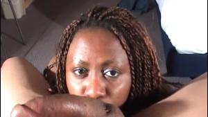 Handcuffed ebony sucks cock taking cum in mouth