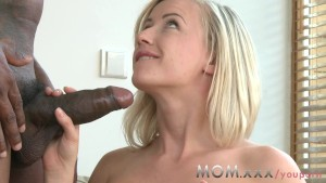 Blonde MILF with Big Tits takes his girth
