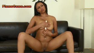 Ebony Girl With Long Legs Stuffs Her Pussy