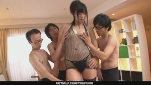 Three guys get a japanese girl blow job from Saki Aoyama