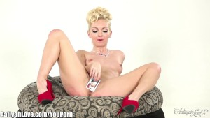 She spanks herself for a pervert card game!