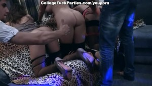 Young female students at the party fuck hard in the ass and mouth