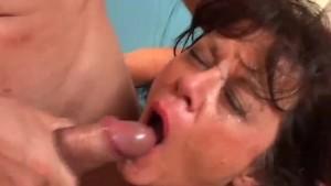 Sexy old spunker in stockings Debella enjoys a facial cumshot