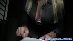 PublicAgent Naughty blonde gets her ass covered in cum