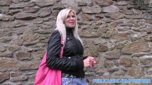 PublicAgent Sexy Blonde fucked in public toilets for cash.