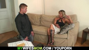 Hot mother-in-law sucks and ri