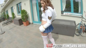 Fist Flush chick in schoolgirl outfit fists own pussy