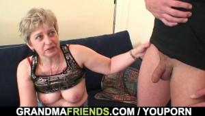 Grandma takes two cocks after masturbation