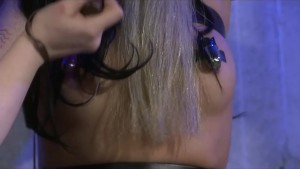Sexy Submissive Tied To Rack By Femdom And Fucked With A Dick On A Stick