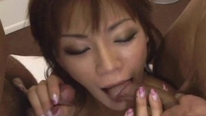 Japanese babe means funs for two guys Uncensored