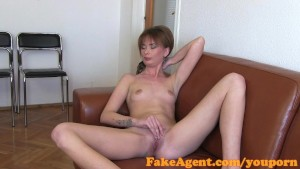FakeAgent Shy amateur gets spunk on her pussy