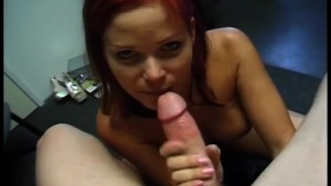 hot redhead amateur sucks and