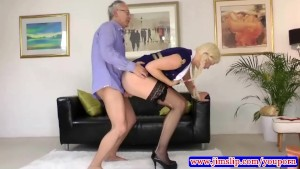 Blonde in pony tails fucked by