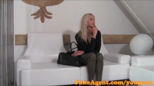 FakeAgent Stunning blonde amateur shows her skills in interview