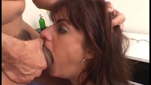 crazy amateur brunette eats as