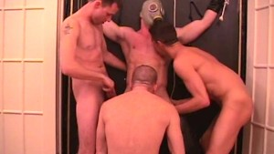 Group of guys gang up on bound cock - Factory Video