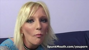 White trash whore Alexa Lynn mouth fucked for a massive CUM FACIAL