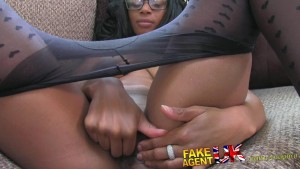 FakeAgentUK Kinky Ebony beauty shakes booty for fake agent