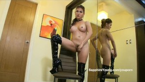 Sexy Sapphire Young in boots!