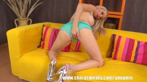 Hot blonde babe Mina strips and play a dildo in her pussy