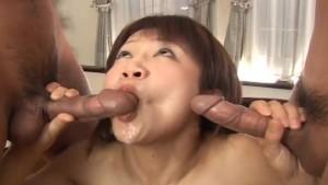 Japanese slut Ami Kitazawa gets banged by two dudes uncensored