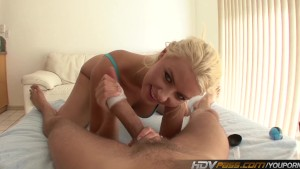 Sexy Blonde Slut Annika Albrite Jerks off cock until it cums with toy
