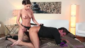 StrapOn Rachel Evans taking mu