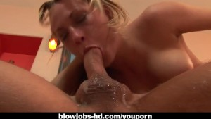 Blonde slut Harmony Rose gags