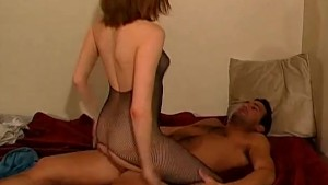 Brunette in fishnets butt fucking - Shock Wave