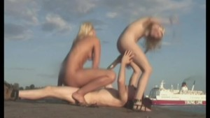 2 blondes banging on the beach- Red Productions