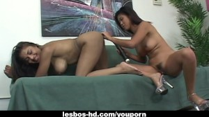 Sexy babe Asia and her girlfriend bang each other
