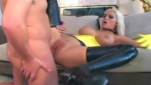 Blonde fucking in latex stockings and a garter