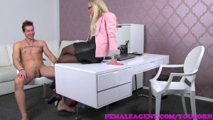 FemaleAgent MILF lets sexy stud cum in her mouth after fucking