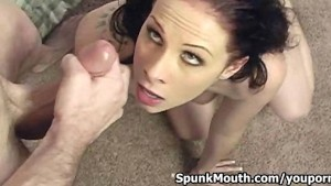 Busty babe Gianna Michaels sucks and tittyfucks cock for huge Facial