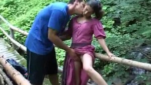 Hot sex on a mountain bridge